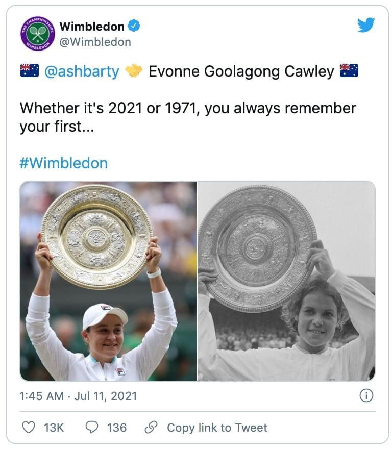 a wimbledom twitter post with two photos of ash barty and evonne goolagong cawley side by side holding their wimbledom trophy and a caption that says whether it's 2021 or 1971, you always remember your first